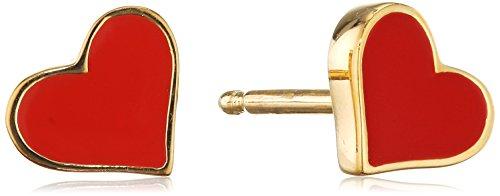 caï Damen-Ohrstecker mit Herz Motiv 925 Silber gelb vergoldet und rot lackiert ca. 6,5 mm