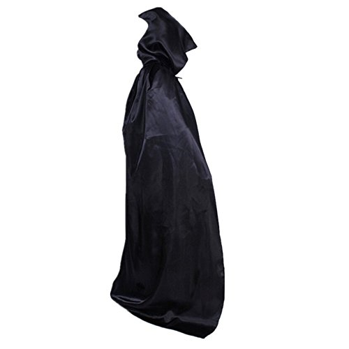xiemushop Capa Larga con Capucha para Adultos Disfraz de Vampiro Cosplay Diablo Traje Medieval Negro