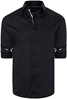Tarocash Men's Zander Slim Stretch Shirt Slim Fit Long Sleeve Sizes XS-5XL for Going Out Smart Occasionwear