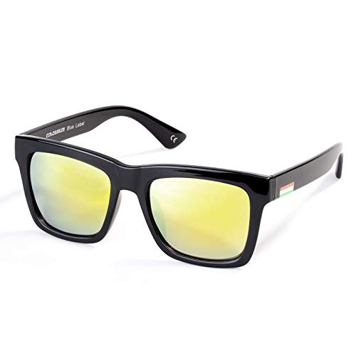 Colossein Classic Polarized Sunglasses For Men Retro Square Frame Mirrored Lens, UV400(Gold Lens/Black Frame)