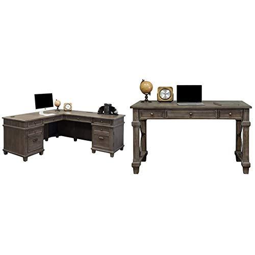 Martin Furniture Desk and Return, Weathered Dove & Furniture Writing Desk, Weathered Dove