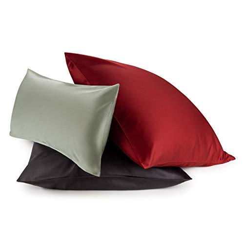 Blumtal 2er-Set Mako Satin Kissenbezug 40x40 cm - 100% Baumwolle, Superweicher Kopfkissenbezug 40x40, Kissenhülle, Aurora Red