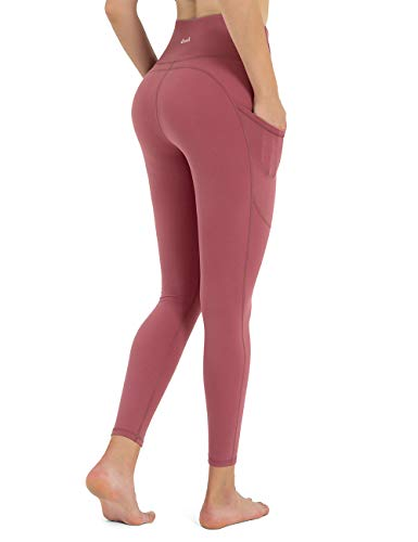 DOMODO High Waisted Workout Leggings with Pockets, Butt Lift Yoga Pants for Women(Deep Pink,Small)