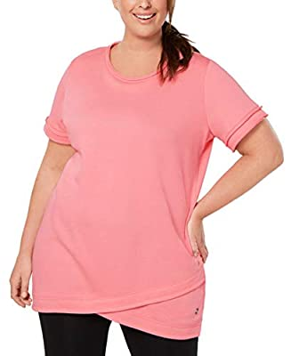 Ideology Womens Plus Fitness Workout Tunic Top Pink 1X