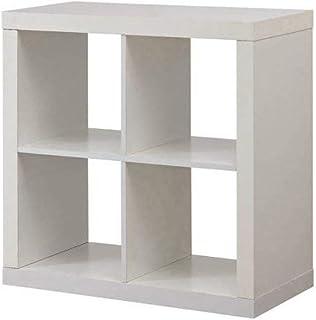 Better Homes and Gardens Bookshelf Square Storage Cabinet 4-Cube Organizer White (White, 4-Cube)