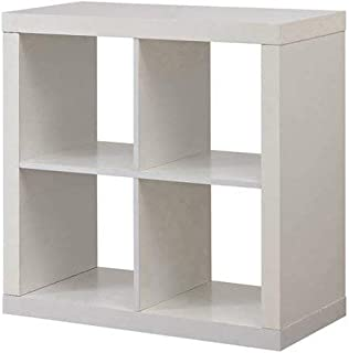 Better Homes and Gardens* Bookshelf Square Storage Cabinet 4-Cube Organizer White (White, 4-Cube)