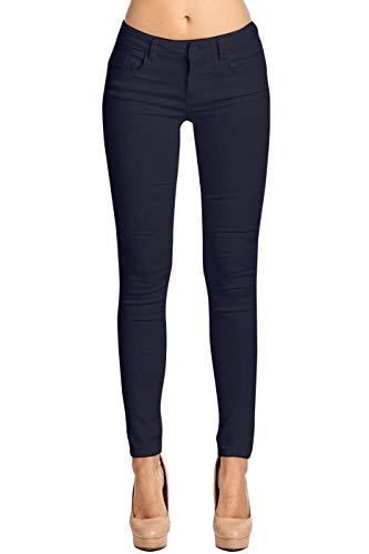 2LUV Women's Stretchy 5 Pocket Skinny Color Uniform Pants Back to School Junior Clothing Apparel Navy 3