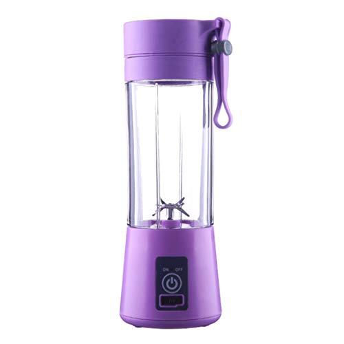 2/4 cuchillas mini USB recargable portátil eléctrico exprimidor de frutas batidora licuadora máquina botella deportiva jugo taza Kaemma(Color:purple)