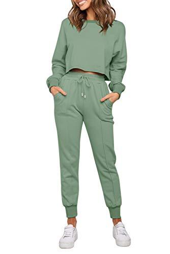 ZESICA Women's Long Sleeve Crop Top and Pants Pajama Sets 2 Piece Jogger Long Sleepwear Loungewear Pjs Sets Green