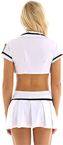 QYSEK Donne Tutti i Giorni Reggiseni Donne Lingerie Poliziotta Uniforme Cosplay Gonna a Pieghe Manica Corta-White_One_Size