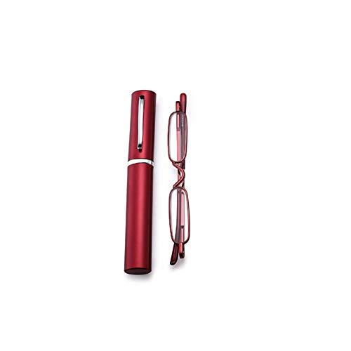 Yiwa Mini-leesbril, uniseks, draagbaar, van metaal, leesbril, Presbytes met brillenkoker Eén maat Rouge 300 degrés