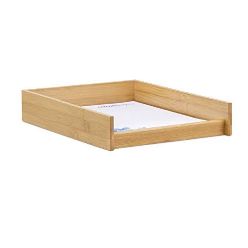 Relaxdays, 6x25x33 cm, Natur Dokumentenablage Holz, DIN A4 Papierfach, Büro, Schreibtisch, flach, Briefablage Bambus-Optik, 25x33 cm, 1 Stück