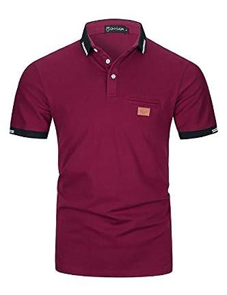 Casual Polos Manga Corta para Hombre Costura en Contraste Escote Camiseta Camisas Verano Primavera Deporte Golf Tennis T-Shirt Oficina,Rojo Vino,XL