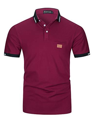 GHYUGR Poloshirts Herren Basic Kurzarm Baumwolle Polohemd Golf T-Shirt S-XXL,Rot,XXL