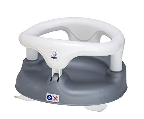Rotho Babydesign Badesitz, Mit aufklappbarem Ring inkl. Kindersicherung, 7-16 Monate, Bis max. 13kg, BPA-frei, 35x31,3x22cm, Perlsilber/Weiß