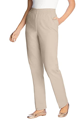 Woman Within Women's Plus Size Elastic-Waist Straight Leg Chino Pant - 20 W, Natural Khaki Beige