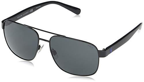 Polo Ralph Lauren Óculos de Sol Masculinos Ph3130 Quadrados, Preto brilhante/cinza, 59 mm