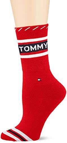 Tommy Hilfiger Damen TH Women 1P Logo Socken, Mehrfarbig (Red 072), 39/42 (Herstellergröße: 039)