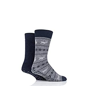 Totes Men Original Plain and Patterned Slipper Socks Pack of 2