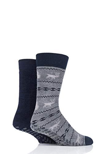 Totes Men Original Plain and Patterned Slipper Socks Pack of 2