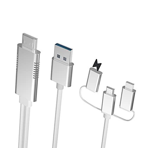 Ozvavzk Phone Cavo Adattatore a HDMI, 3 in 1 Multiporta Type-c Micro USB MHL a HDMI Cavo Connettore Full HD 1080p per Android