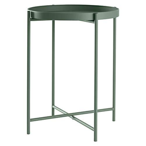 Beistelltisch Tabletttisch rund Ø38xH50cm Metall, Präzise Farbe:Grün