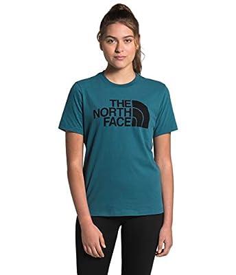 The North Face Women's S/S Half Dome Cotton Tee, Mallard Blue/TNF Black, XL