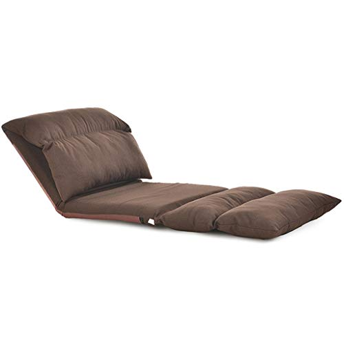 Lazy Sofa Chair Bean Bag Floor Chair Folding Lazy Couch, 180° Multi-function Adjustable Soft Sofa Bedroom Living Room Floor Recliner Sofa Single Back Sofa Chair FENGNV1017 (Color : Brown)