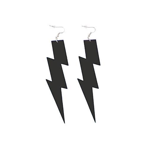 Oblique Unique® Blitz Ohrringe für 80s 80er Jahre Motto Party Fasching Karneval Kostüm Accessoires Flash Damen Ohrstecker Pink Schwarz Neon Grün - Farbe wählbar (Schwarz)