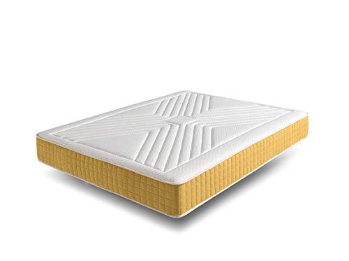 ECCOX - Viskoelastische Matratze Luxury Gold - Höhe 21 cm - Bio Sense HR Resilence Core - Bio-Natur + Supersoft-Visko mit hoher Dichte und Memory-Polsterung - Gold-Nanopartikel (140x200 cm)
