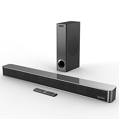 Sound Bar, BESTISAN Soundbar with Subwoofer, 150W 110dB Wired & Wireless Bluetooth 5.0 Surround Sound System, Home Audio Sound Bars for TV, 26 Inch, Bass Adjustable, Remote Control, Optical/Aux/USB
