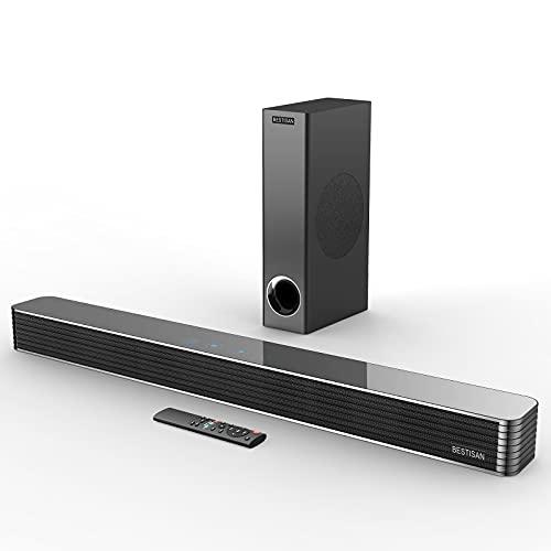 Sound Bar, BESTISAN Soundbar with Subwoofer, 150W 110dB Wired &...