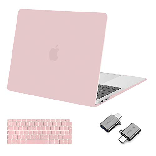 MOSISO MacBook Air 13 inch Case 2020 2019 2018 Release A2337 M1 A2179 A1932, Plastic Hard Shell Case & Keyboard Cover & Type C Adapter 2 Pack Compatible with MacBook Air 13 inch Retina, Rose Quartz