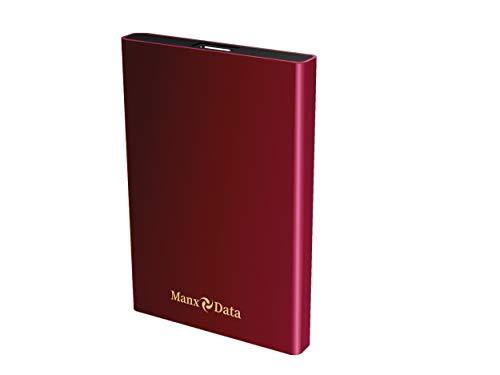 ManxData - Hard disk esterno portatile USB 3.0, 500 GB, per PC, Mac, Smart TV, Xbox One e PS4, colore: Rosso