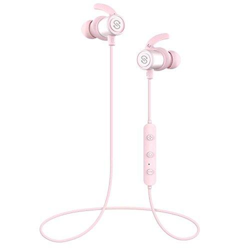 SoundPEATS Q30 Plus Auriculares Bluetooth 4.1 Magnéticos In-Ear esistente al Agua IPX6, MAX Duración 8 Horas (Rosa)