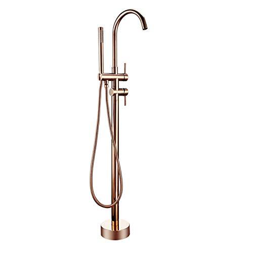 Badezimmerarmaturen Messing Dusche Diverter Boden stehende Badewanne Auslauf Mixer Wasserhahn Roségold für Bad