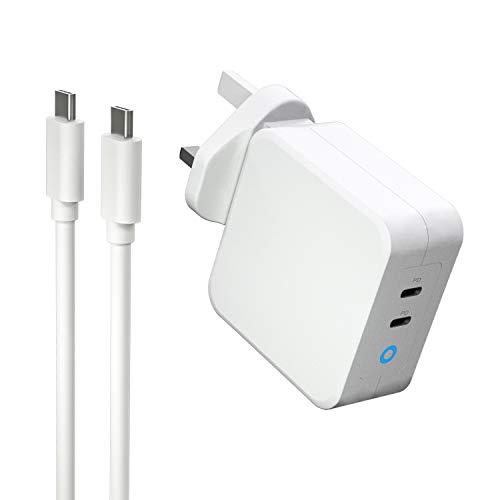 GAN 100W 2-Port GaN Tech Wall Charger,PD USB C Charger for Lenovo ThinkPad T470 (1FCD) / Lenovo ThinkPad X270 / Razer Blade Stealth 17 Huawei MateBook X Pro/MateBook X / MateBook13 / Nintendo