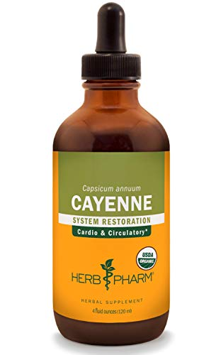 Herb Pharm Certified Organic Cayenne Liquid Extract for Cardiovascular and Circulatory Support - 4 Ounce