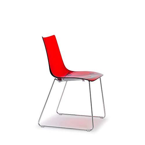 Scab Set 2 Design Zebra Antishock Chaise Pied traîneau Rouge Transparent