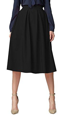 Urban GoCo Mujeres Vintage Falda Midi Plisada A-Line con Bolsillos Faldas Larga Negro M