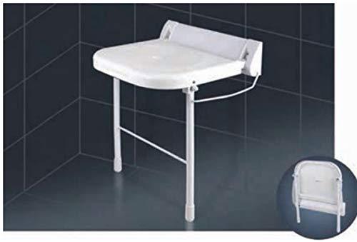 Duschklappsitz mit höhenverstellbaren Stützfüßen | Design Weklas Highline Deluxe weiß | Wandmontage, bis 180 kg Tragkraft, Badestuhl Duschhocker Klappbarer Duschsitz
