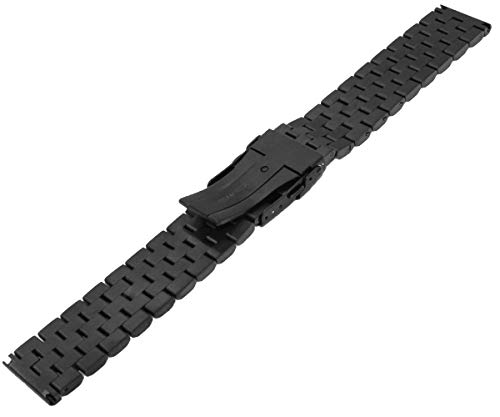 High Grade 5 Rows Engineer Metal Watch Band Solid Brushed Stainless Steel Watch Bracelet Straps Black&Silver Replacement Watch Band with Screws 20mm/22mm/24mm Double Lock Clasp for Men Women