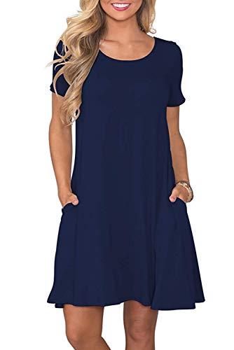 Bequemer Laden Damen Casual Sommer T Shirt Kleid Kurzarm Swing Kleider mit Taschen, L, Marine
