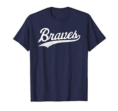 Vintage Braves Native American Warrior Distressed Script T-Shirt