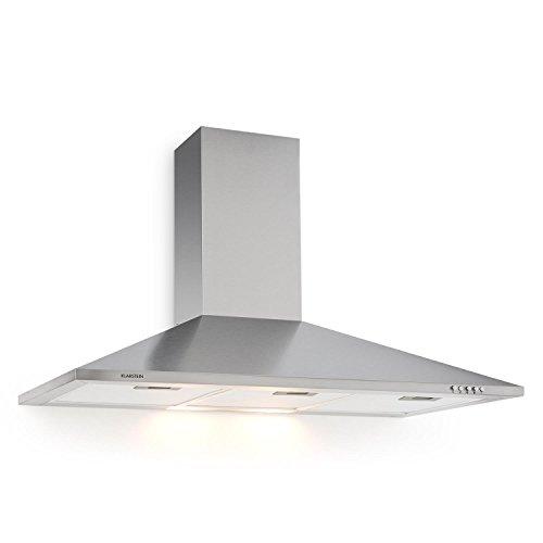 Klarstein TR90WS Filter 3 - Cappa apirante da cucina, 90 CM, apirazione max 340m³/h, illuminazione con lampade, Grigio