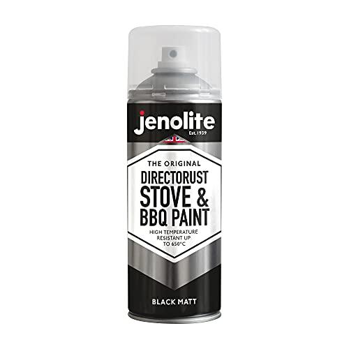 JENOLITE Directorust Vernice spray per barbecue e stufa - Nero opaco - Resistente alle alte temperature Fino a 650°C - 400ml