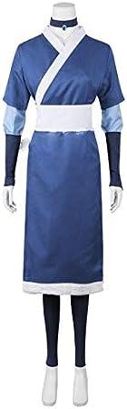 2020 7 piezas Avatar The Last Airbender Katara hombres disfraz de Cosplay Halloween Cosplay disfraz de mujer y peluca Haute Couture Xl disfraces