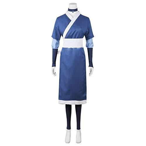 2020 7Pcs Avatar The Last Airbender Katara Men Cosplay Disfraz Halloween Cosplay Mujer Disfraz y peluca Haute Couture Disfraces de talla única