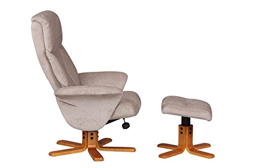 GFA Marseille Fabric Swivel Recliner Chair And Footstool In Mist/Cherry