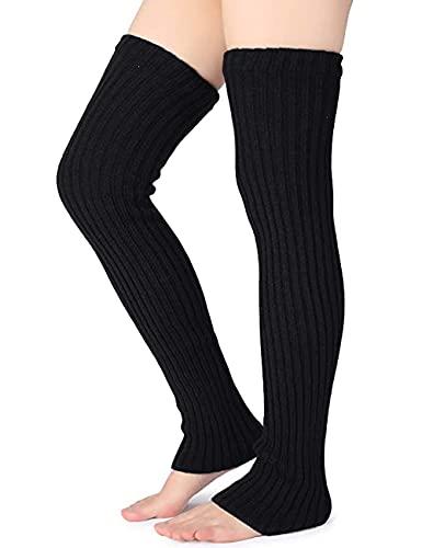 Nanxson Damen Lang Stulpe Leg Warmer Gestrickte Over-Knee Lange Beinstulpe Tanzen Strumpf TTW0065 schwarz